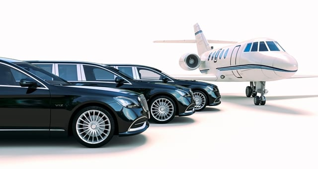 Limo Hire Melbourne fleet at Melbourne Airport waiting for VIP clients near a private jet