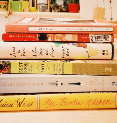 A collection of books on food writing