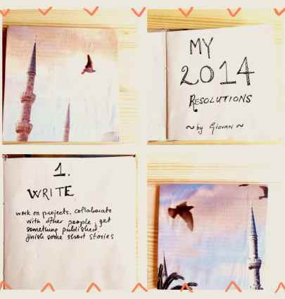 My New Year's Resolutions in a handmade book