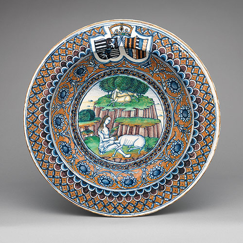 Dish with an allegory of Chastity and the arms of Matthias Corvinus and Beatrice of Aragon, 1476, Italy