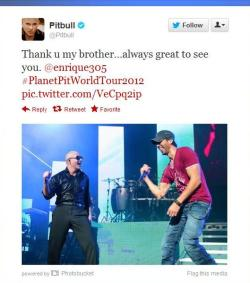 Pitt Bull sent thank you tweets to J-Lo and Inglesias after Los Angeles Concert on Auguest 9, 2012