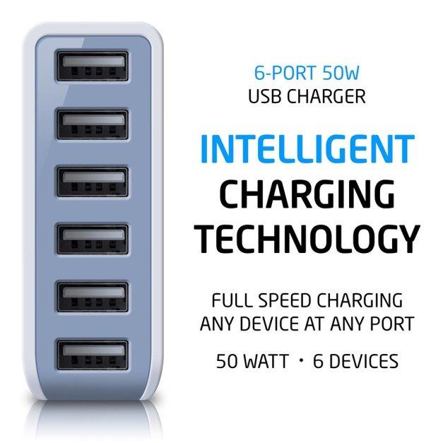 Photive 50 Watt 6 Port USB Desktop Rapid Charger