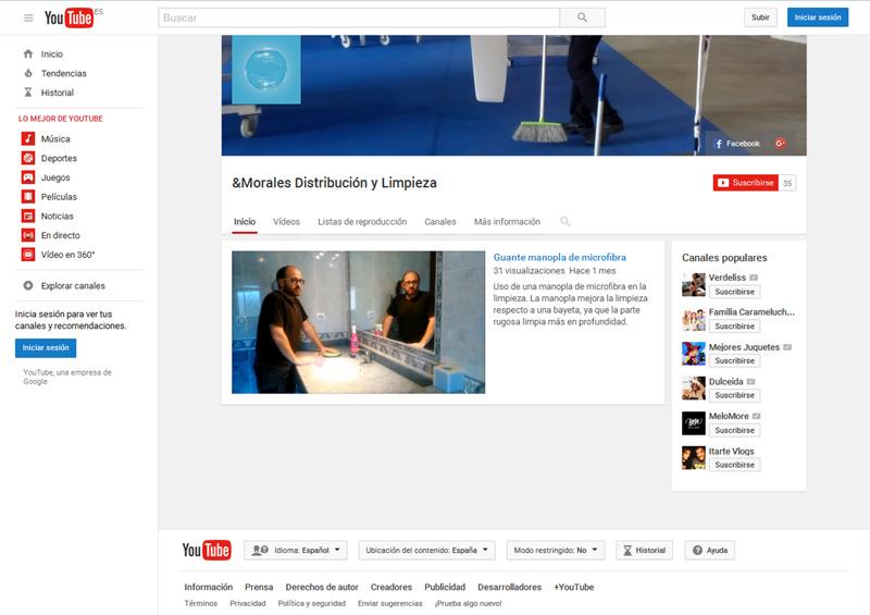 Canal de Youtube &Morales Distribución y Limpieza