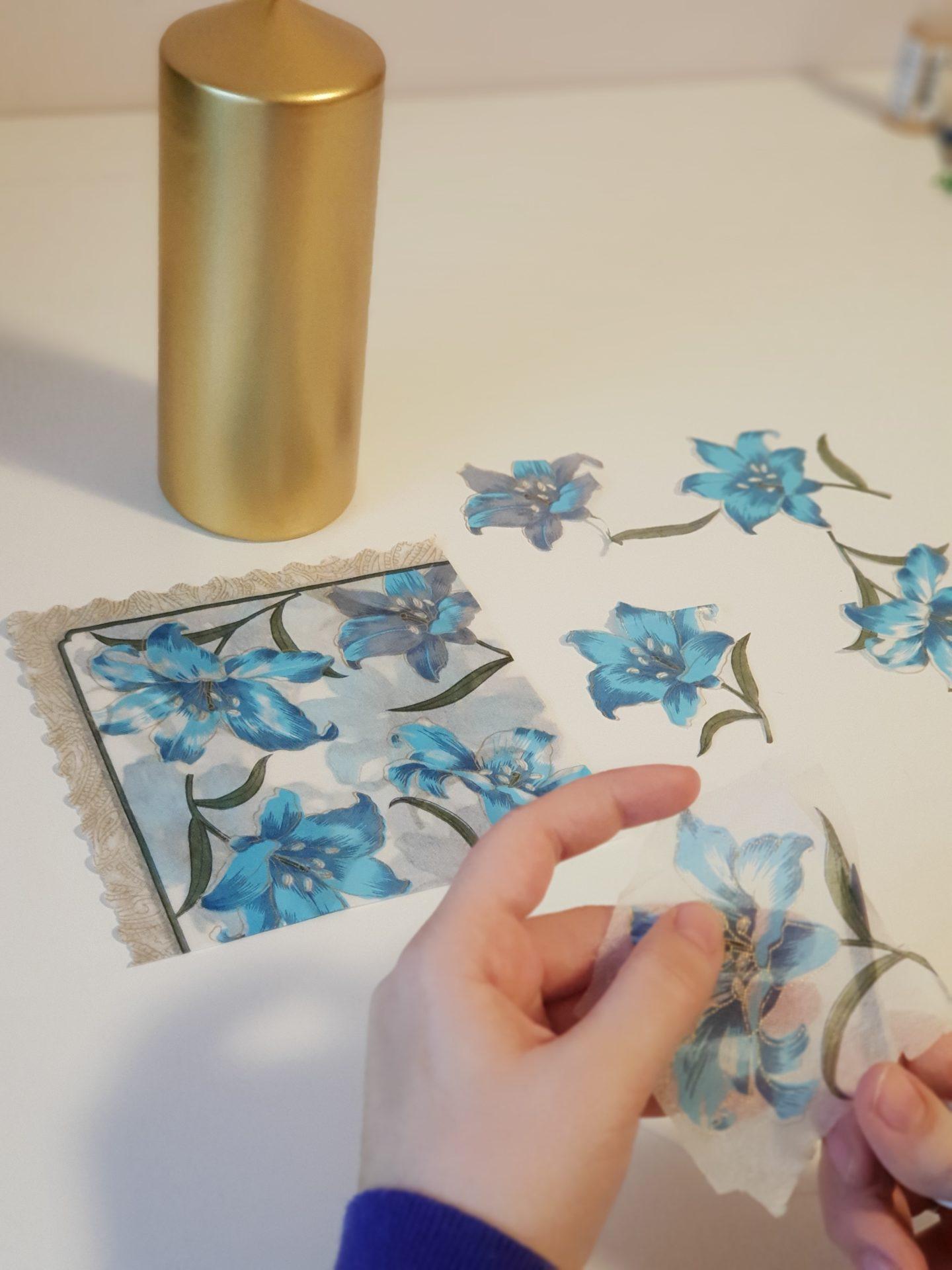 Bougie personnalisée - motifs serviettes