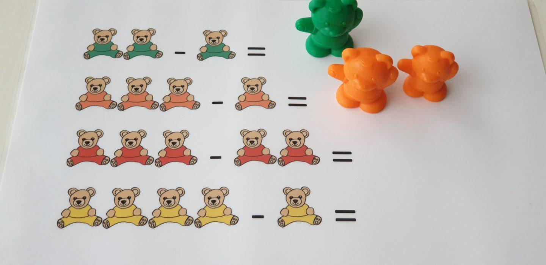 Apprendre à soustraire avec des oursons - diy kids
