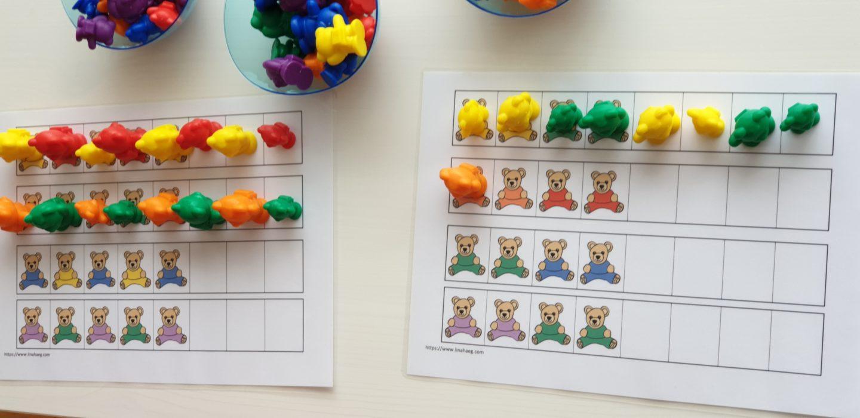Exercices de logique - tri oursons - diy kids