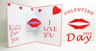 Valentine's day DIY Origami kissing lips – Valentine's (best Kiss Card)