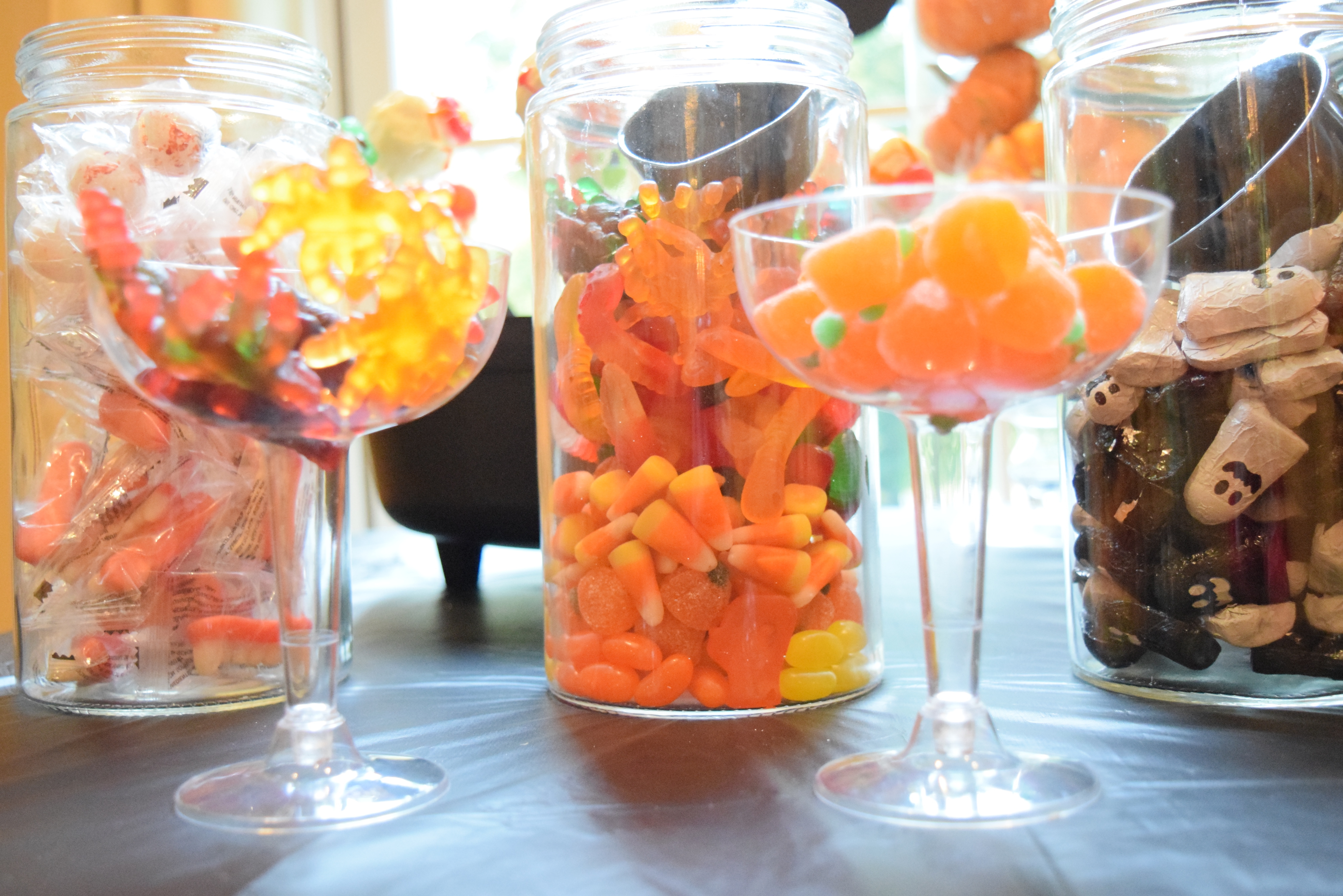 halloween candy station, ghost stories and a pumpkin trebuchet party