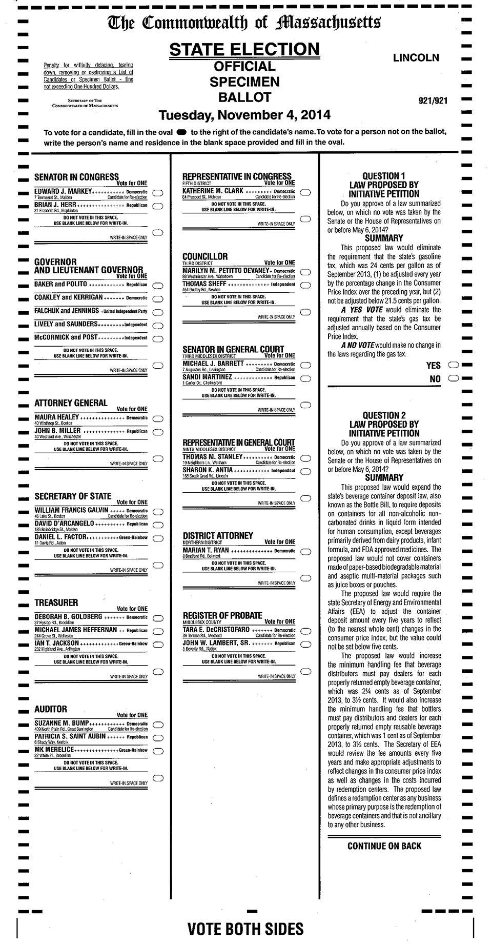 Sample ballot for November 4 election