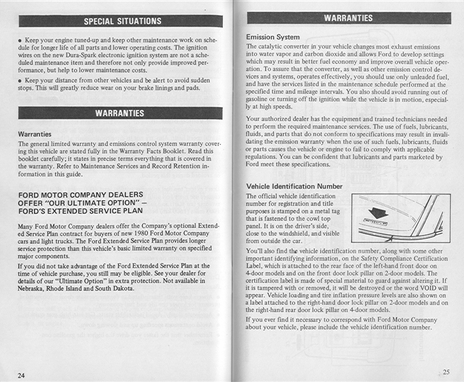 Lincoln Versailles, 1980 Owner's Manual