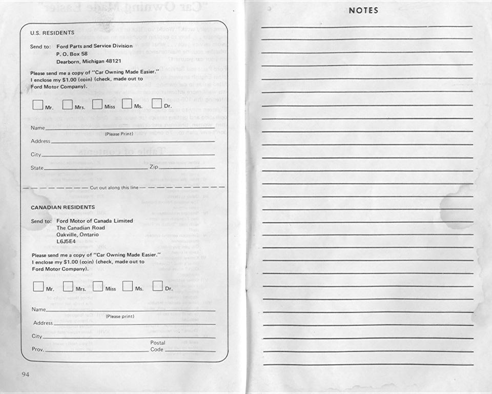 Ford Granada, 1976 Owner's Manual