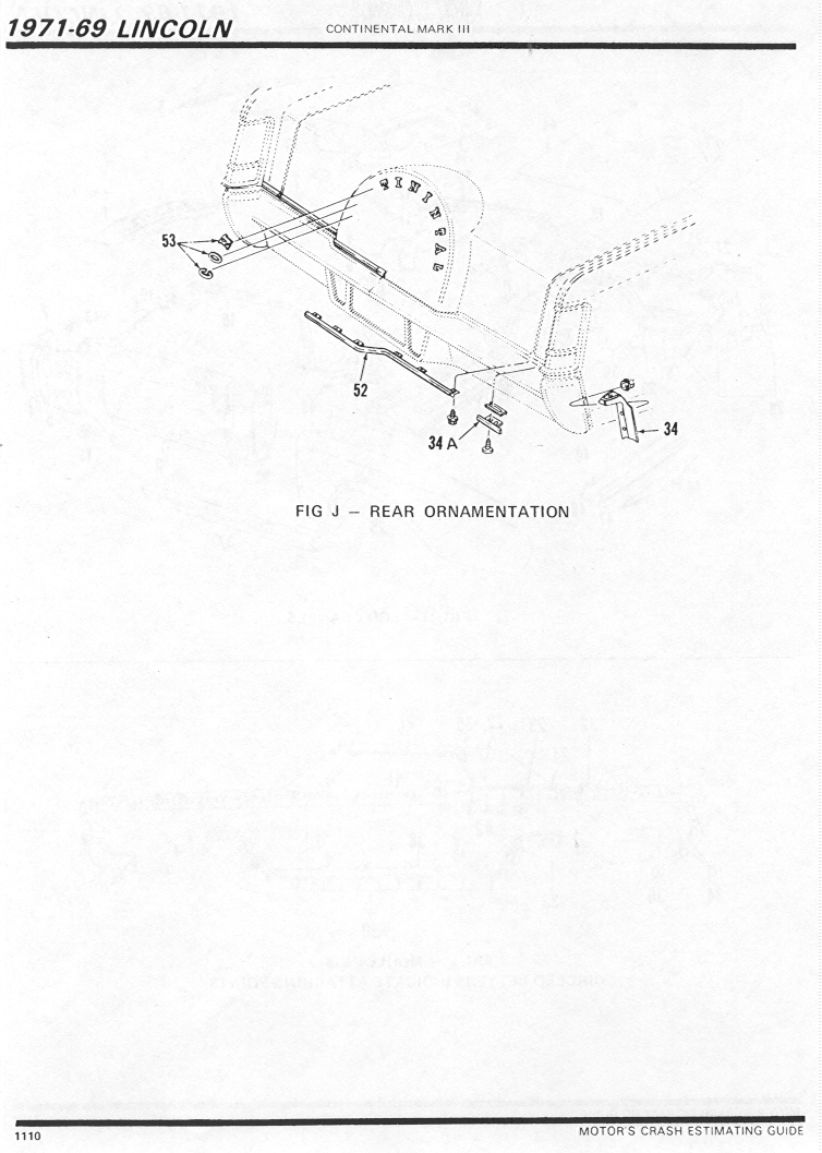 Lincoln Continental Mark III Parts Sheet