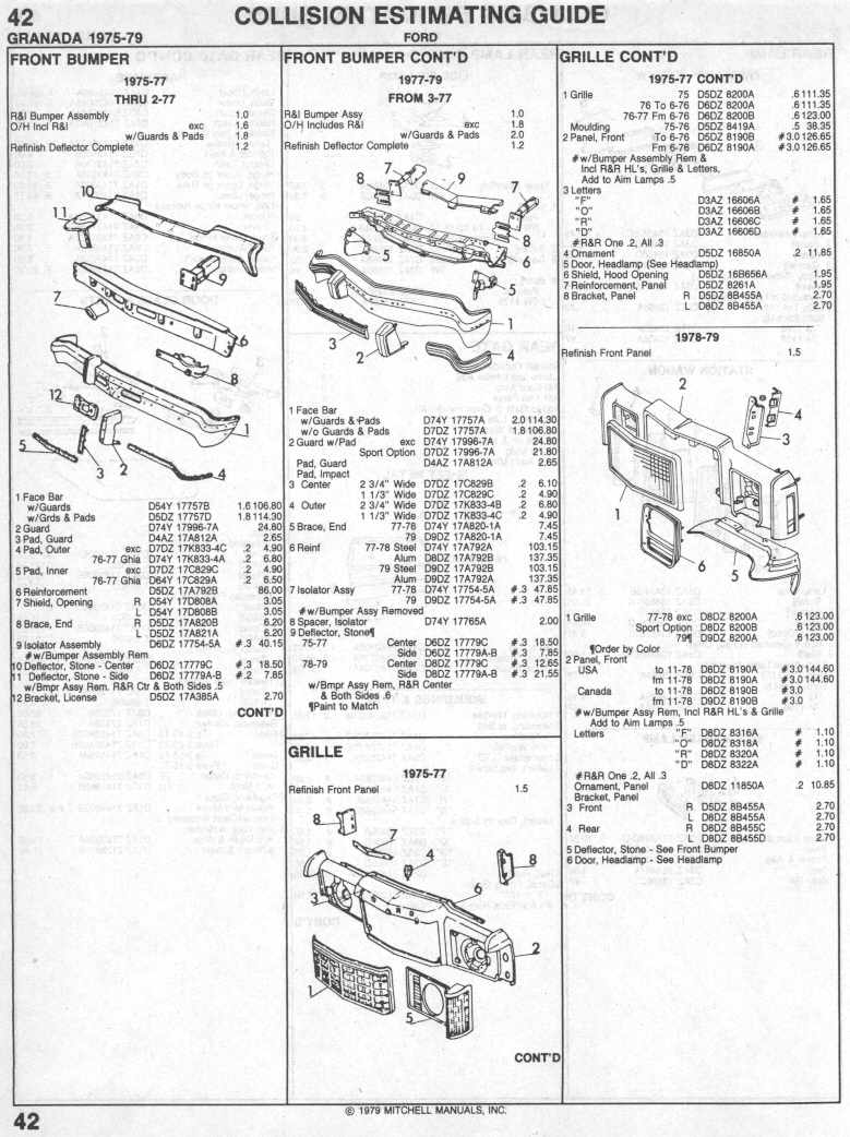hight resolution of ford granada 1975 1979 collision parts list page 1