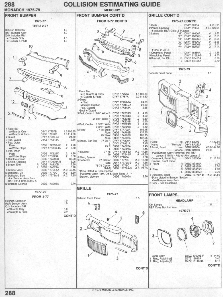 Mercury Monarch Parts List