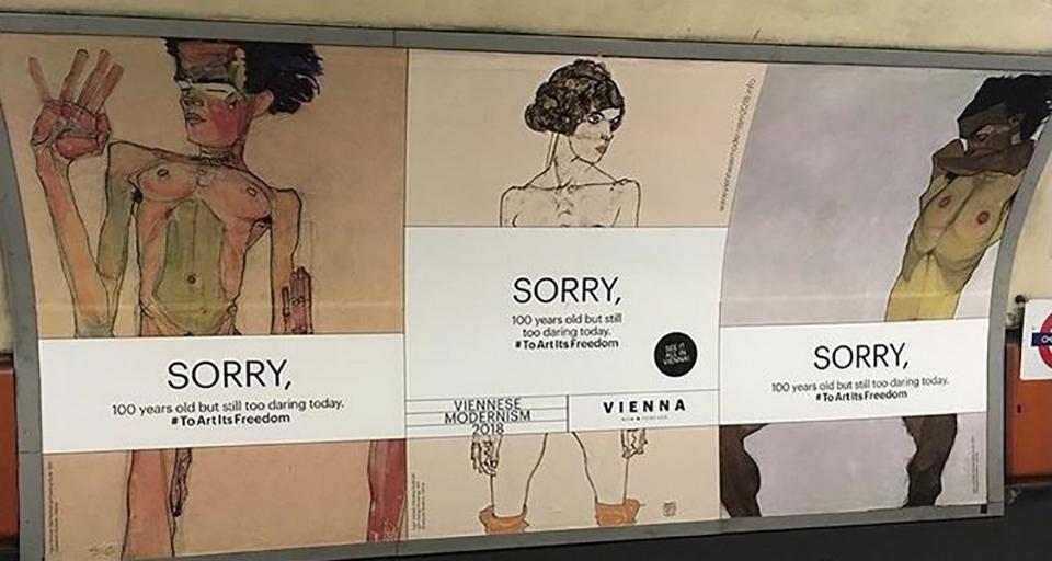 Metropolitana di Londra, i manifesti sulla mostra di Egon Schiele a Vienna