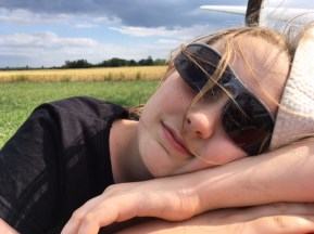 Snoozing on a glider after a long day on the airfield!