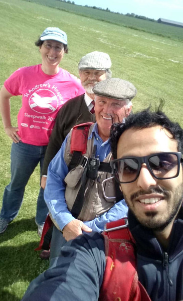 Abdullah Al-Shehri and his crew delighted after nearly an hour in the air!