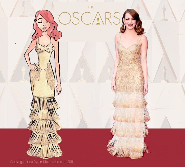 Fashion sketching, Emma Stone, La La Land, Oscars 2017 Red Carpet Fashion, Linda Byrne, Fashion Illustration,