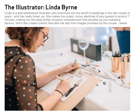 Linda Byrne Illustration Confetti Magazine One to watch 2019, wedding illustrator, wedding artist