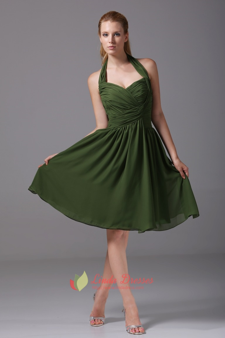 Hunter Green Bridesmaid Dresses ALine Halter Chiffon Cocktail Dresses  Linda Dress