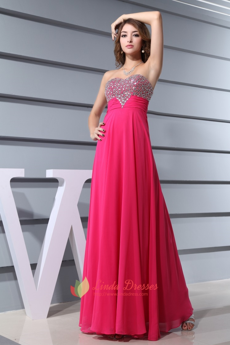 Hot Pink Prom Dresses With Diamonds 2016 For WomenFuschia Crystal Beaded Top Long Prom Dress