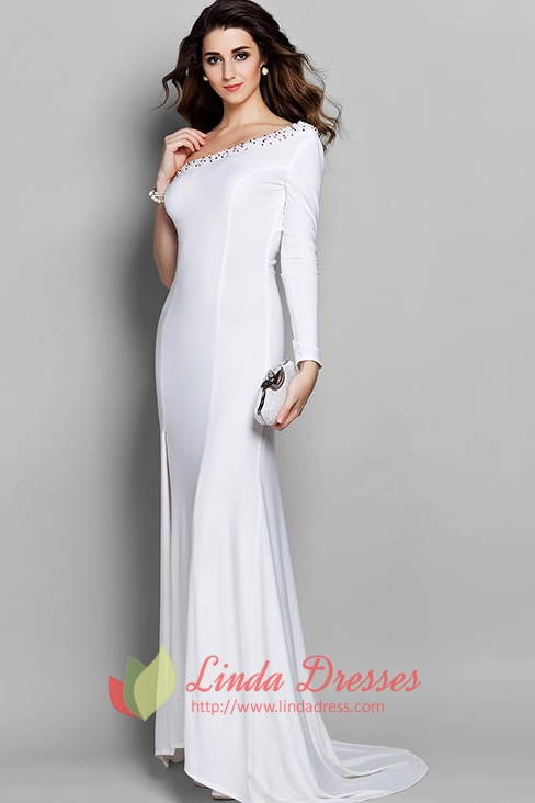 Graceful One Shoulder Beaded Evening Gown With Long Sleeve