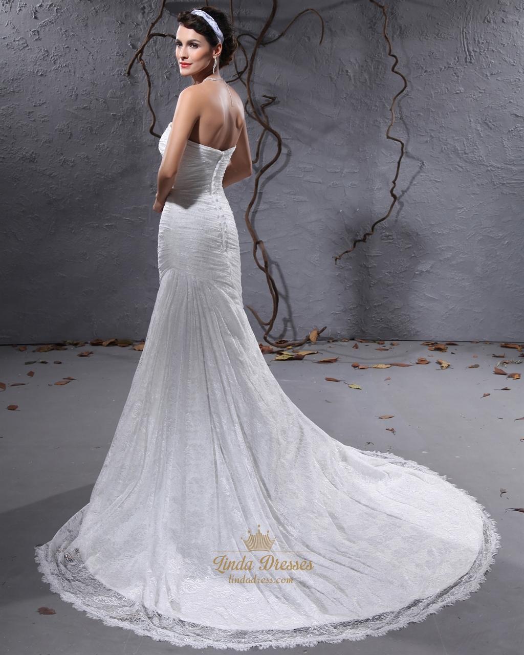 Elegant Ivory Lace Strapless Mermaid Court Train Wedding