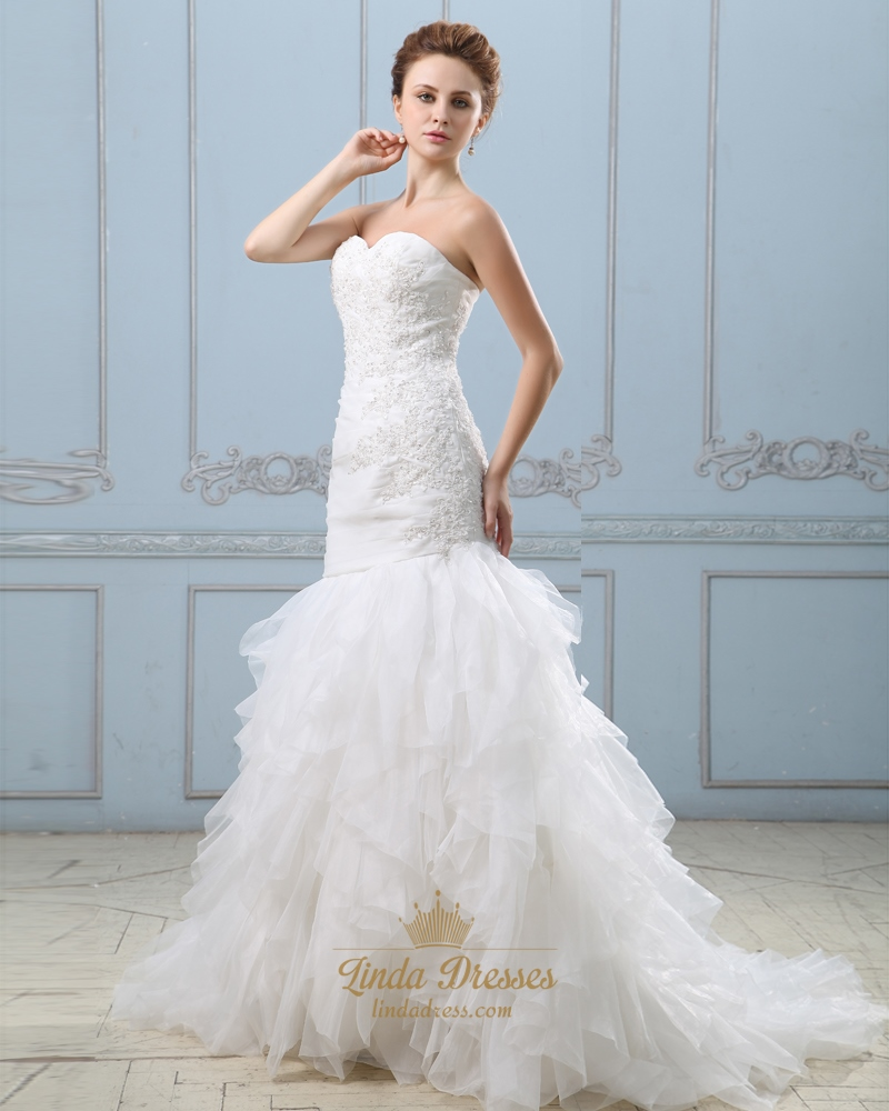 Ivory Strapless Sweetheart Mermaid Wedding Dress With
