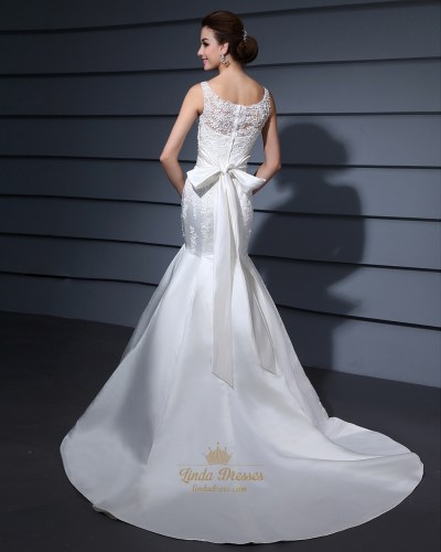 Ivory Mermaid Beaded Lace Applique Illusion Neck Wedding ...