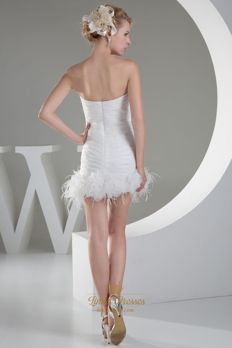 Ivory Sheath Beaded Sweetheart Wedding Dress With Feather