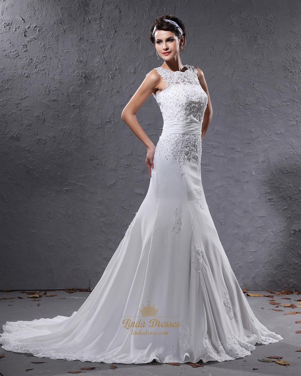 Ivory Mermaid Illusion Neckline Wedding Dresses With Lace