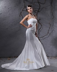 White Strapless Mermaid Wedding Dresses With Buttons All