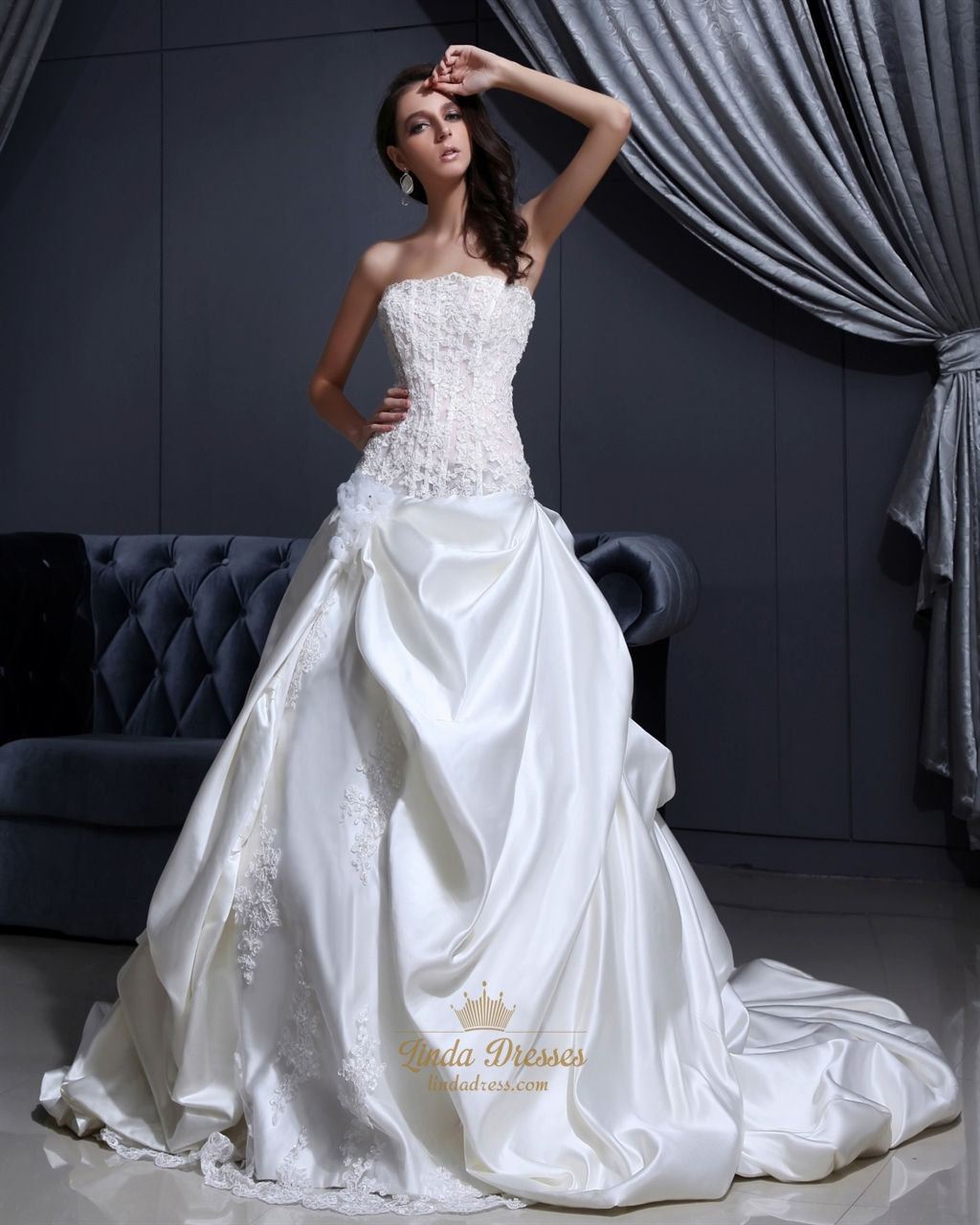 Ivory Strapless Satin PickUp Wedding Dresses With