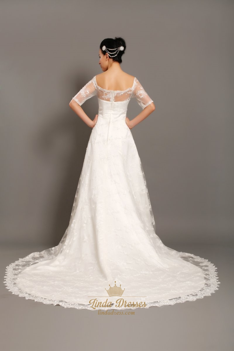 Ivory Lace Off The Shoulder Chapel Train Wedding Dress