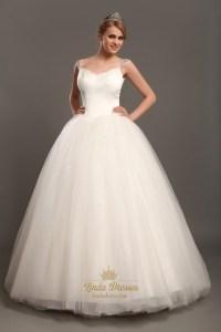 Elegant Ivory Ball Gown V-Neck Tulle Wedding Dresses With ...