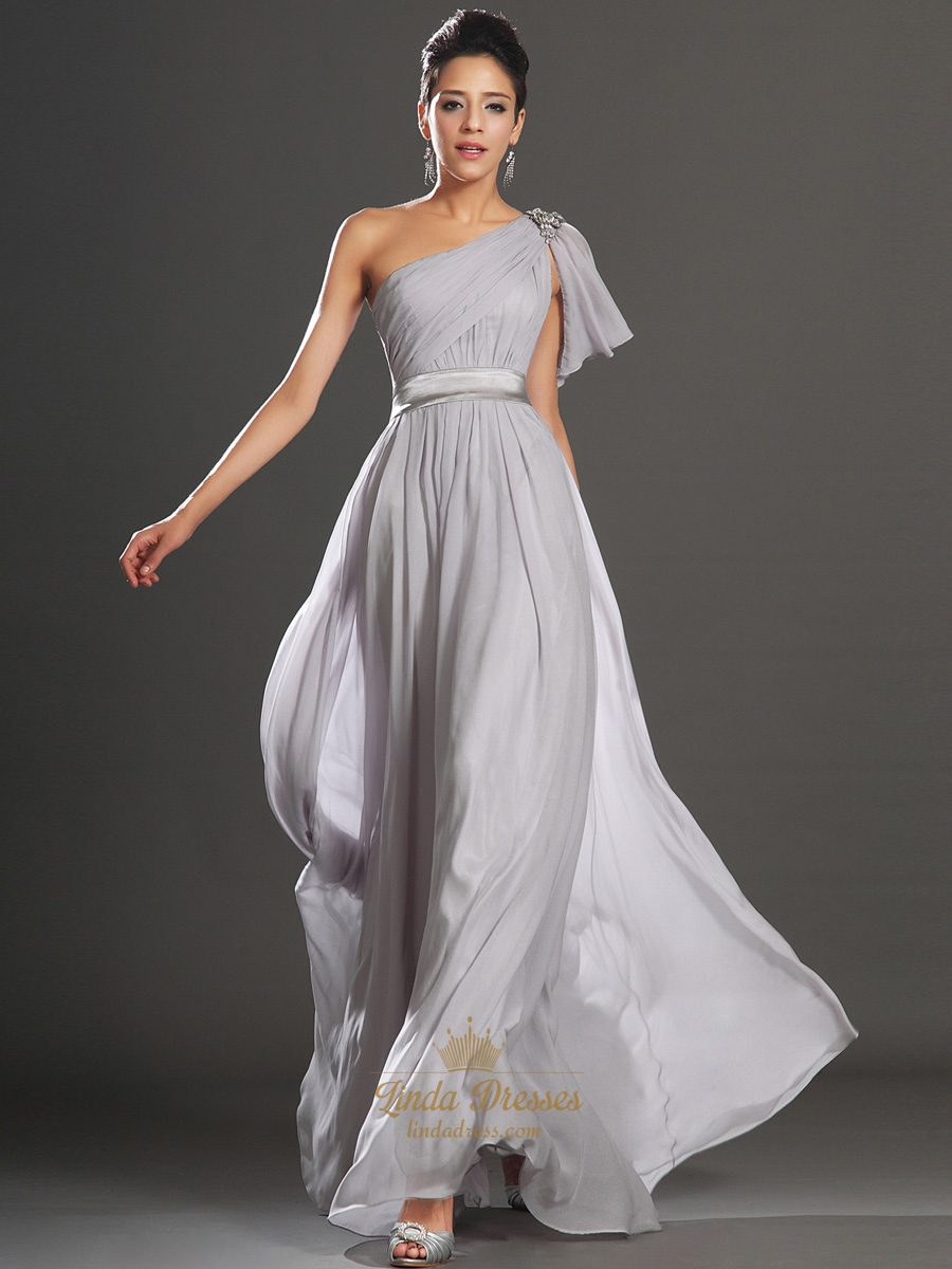 Light Grey One Shoulder A Line Chiffon Prom Dress With Beaded Detail  Linda Dress