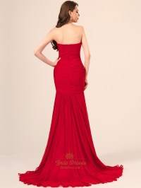 Red Strapless Mermaid Chiffon Prom Dress With Beaded ...
