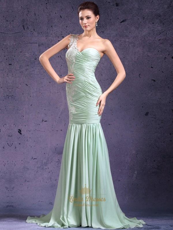 Mint Green Shoulder Mermaid Chiffon Prom Dress With