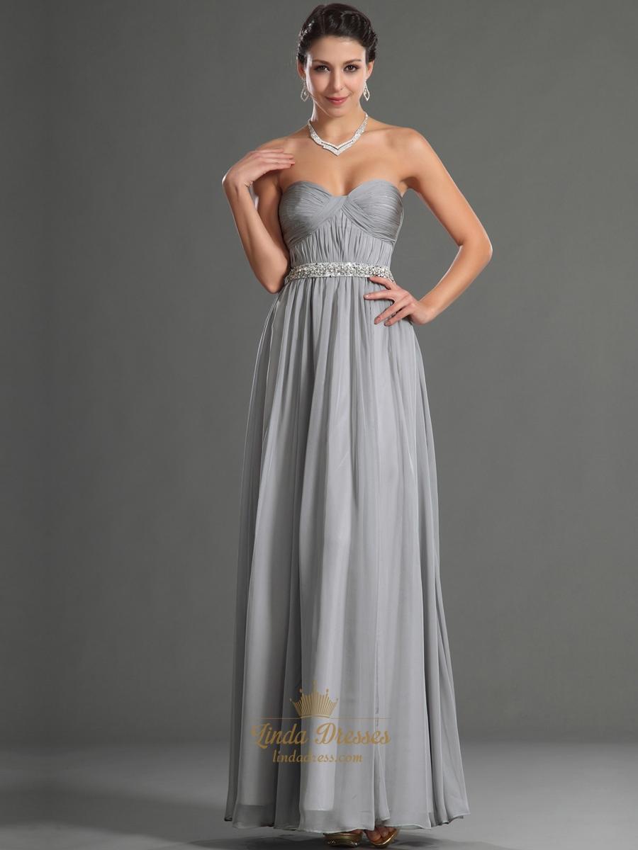 Grey Sweetheart Chiffon Bridesmaid Dresses With Beaded