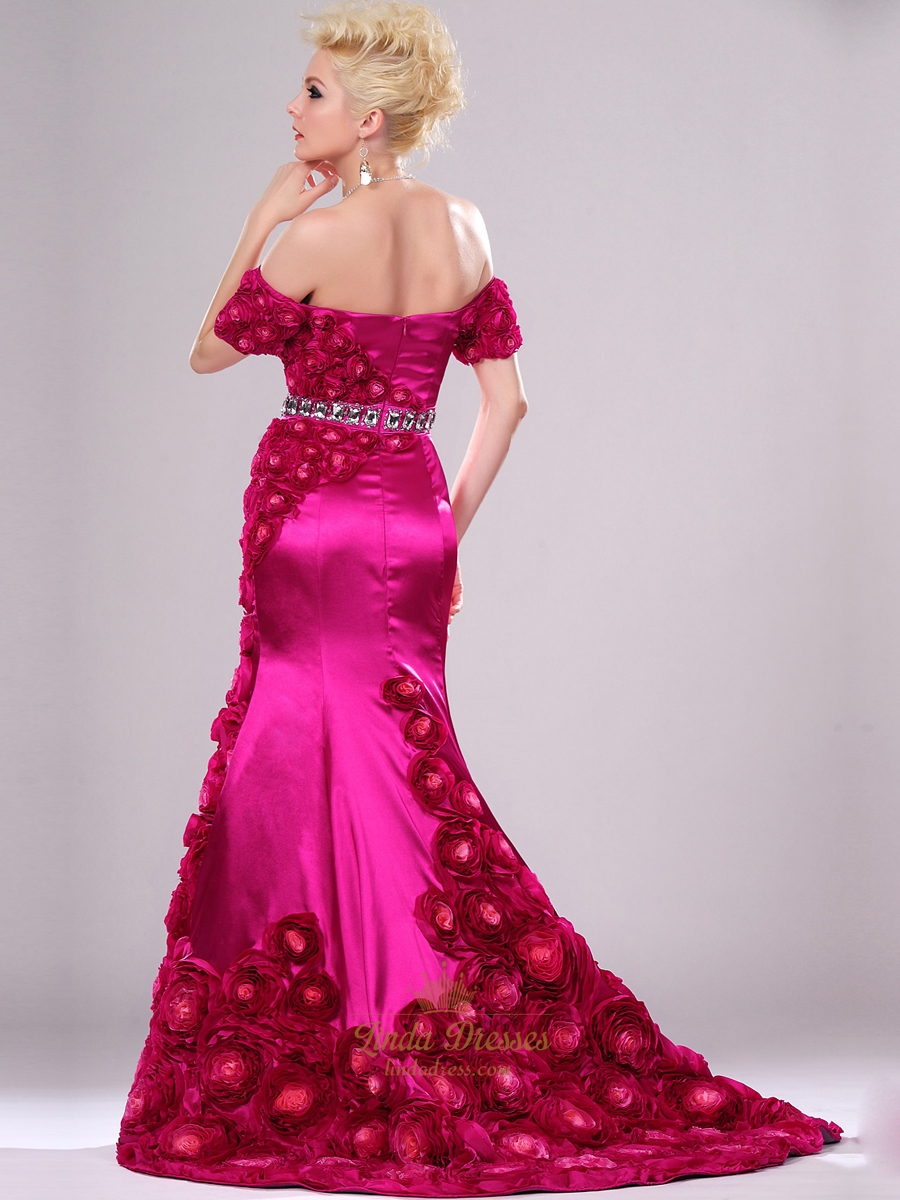 Hot Pink Mermaid Off The Shoulder Prom Dresses With