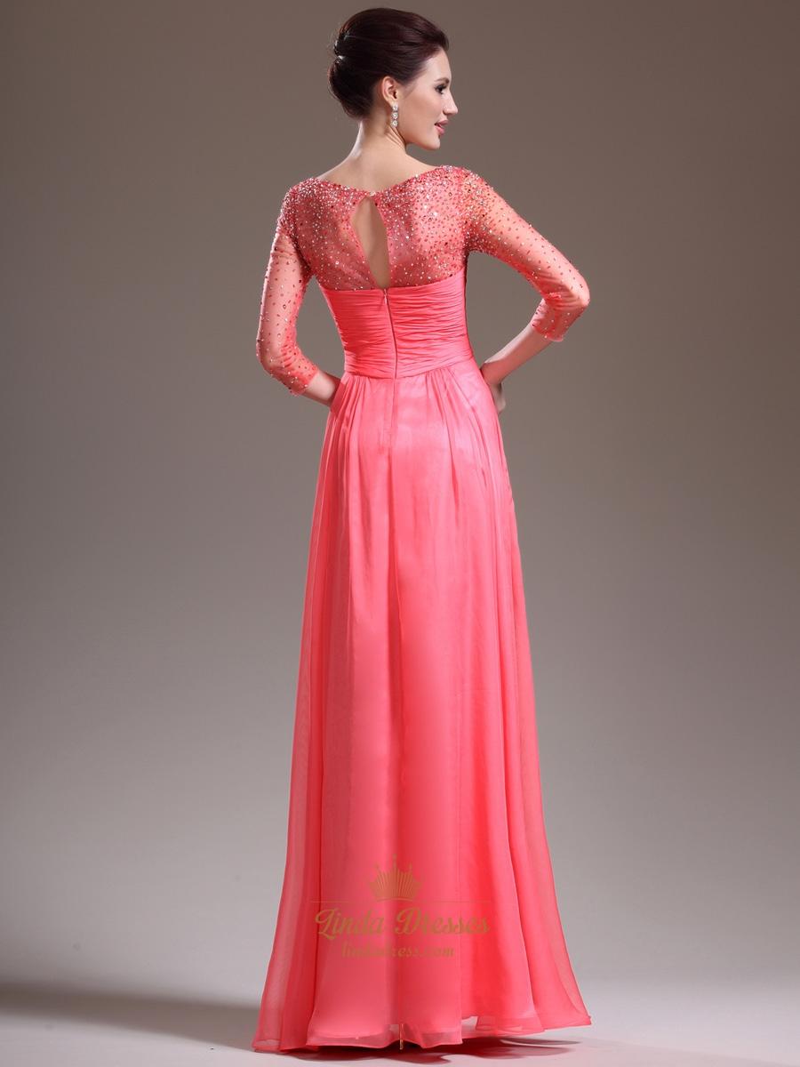 Watermelon Chiffon Long Sleeve Prom Dress With Illusion