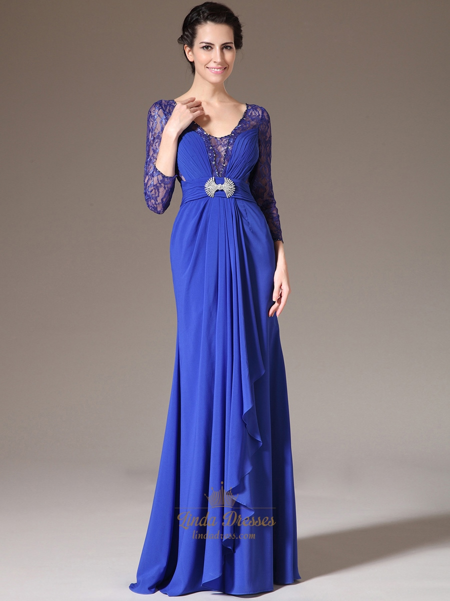 Royal Blue Floor Length Prom Dress With Lace Bodice And