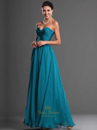 Teal Sweetheart Strapless Chiffon Bridesmaid Dresses With ...