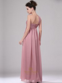 Pastel Pink One Shoulder Empire Waist Long Chiffon ...