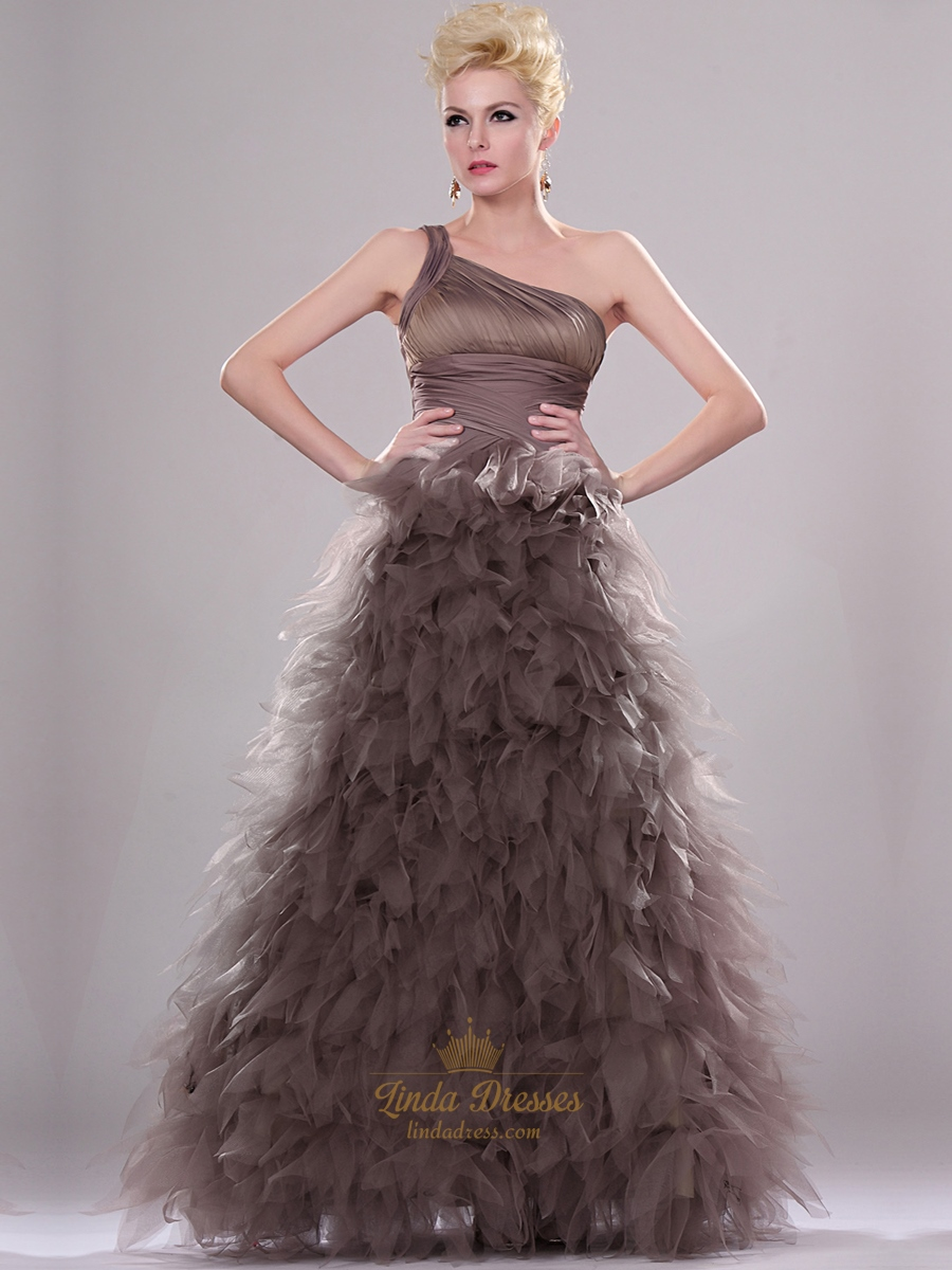 Coffee One Shoulder Floor Length Prom Dress With Tulle