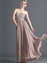Pastel Pink Chiffon Strapless Long Bridesmaid Dress With ...