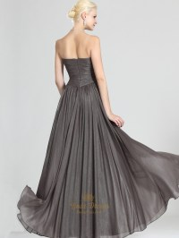 Grey Chiffon Strapless A-Line Bridesmaid Dresses With ...