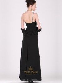 Black One Shoulder Chiffon Bridesmaid Dresses With Beaded ...
