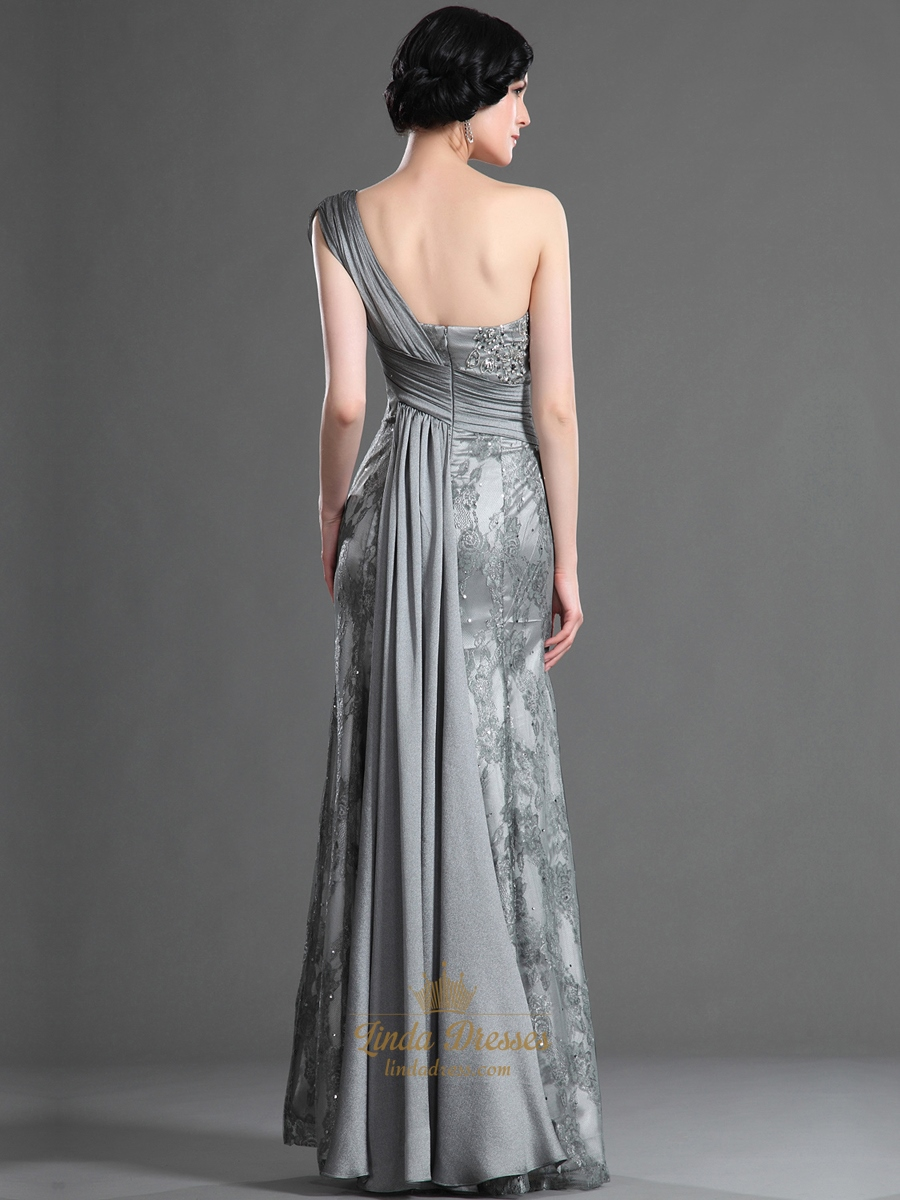 Elegant Grey Lace And Chiffon Column One Shoulder Prom