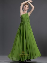 Apple Green One Shoulder Chiffon Bridesmaid Dress With